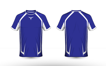 Blue and white layout e-sport t-shirt design template Stock Illustratie