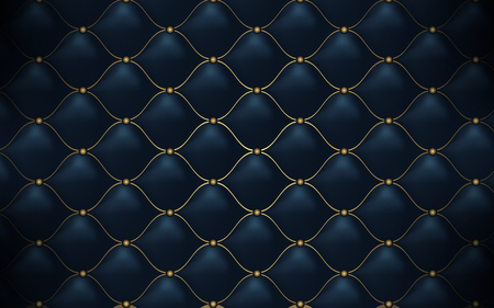 Leather texture. Abstract polygonal pattern luxury dark blue with gold Illustration