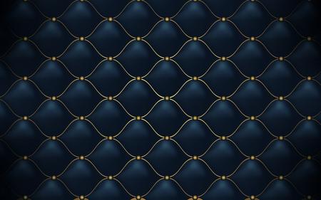 Trama di pelle. Modello poligonale astratto blu scuro di lusso con oro