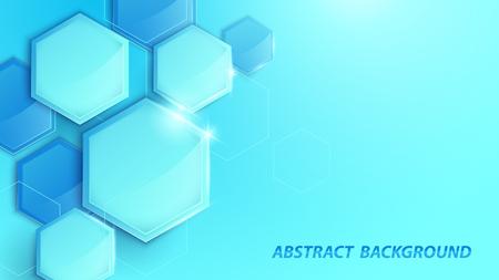 Fondo digital de alta tecnología geométrica 3D azul abstracto