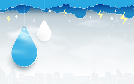 Blue clouds with rain drops on city scene background Illustration