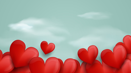 Happy Valentines day. Red hearts and soft blue background