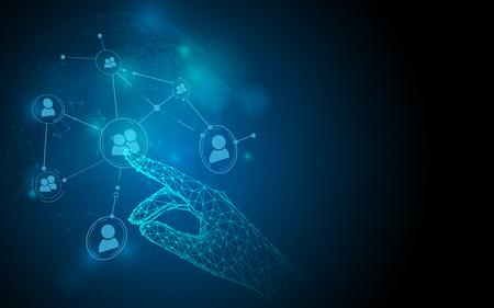 Ręka dotykająca ikon sieci społecznościowych z linii, trójkątów i stylu cząstek. Ilustracja wektorowa