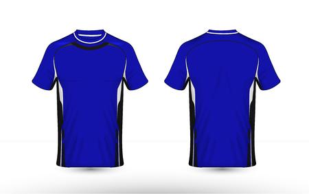 Blauw, zwart en wit lay-out e-sport t-shirt ontwerpsjabloon Vector Illustratie