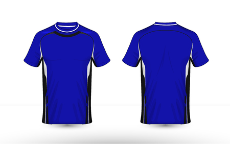 Blue, black and white layout e-sport t-shirt design template