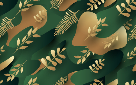 Gold leaves pattern. luxury green and gold background