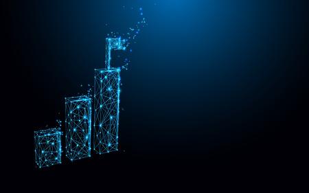 Icône de graphique en croissance à partir de lignes, de triangles et de conception de style de particules. Vecteur d'illustration