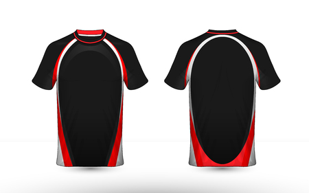 Black, white and red layout e-sport t-shirt design template