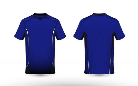 Blauwe, witte en zwarte lay-out e-sport t-shirt ontwerpsjabloon Vector Illustratie