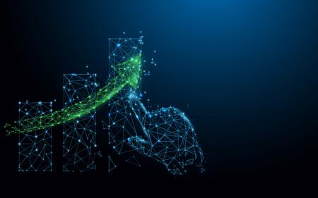 Gráfico y mano en crecimiento a partir de líneas, triángulos y diseño de estilo de partículas. Vector de ilustración Ilustración de vector