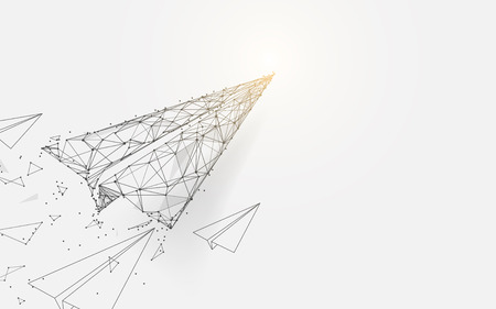 Paper airplanes flying from lines, triangles and particle style design. Illustration vector Иллюстрация