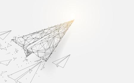 Papierflugzeuge, die aus Linien, Dreiecken und Partikeldesign fliegen. Illustrationsvektor