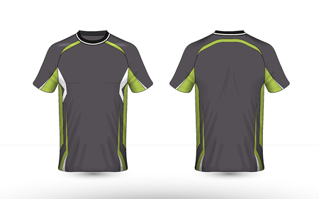 Grey, green and white layout e-sport t-shirt design template