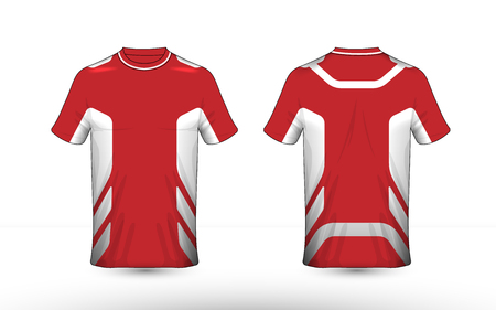 Red and white layout e-sport t-shirt design template