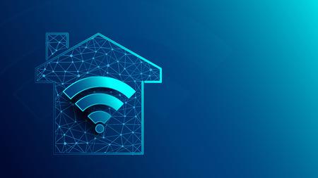 Casa inteligente con iconos de WiFi de líneas, triángulos y diseño de estilo de partículas. Vector de ilustración