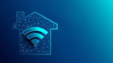 Smart house with WiFi icon icons from lines, triangles and particle style design. Illustration vector Ilustração
