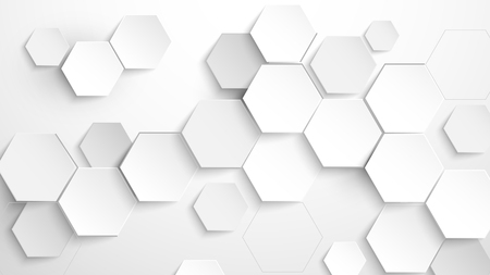 Abstract white hexagon background. Vector Illustration Ilustração