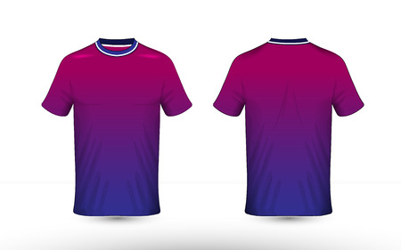 Blue, purple and white layout e-sport t-shirt design template