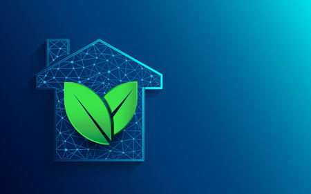 Green house icon from lines, triangles and particle style design. Illustration vector