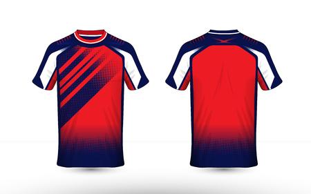 Blauw, wit en oranje lay-out e-sport t-shirt ontwerpsjabloon