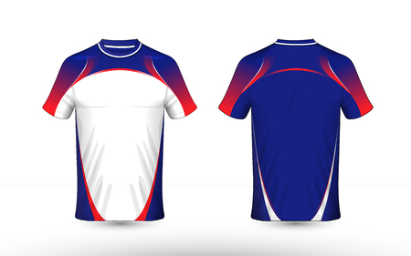 Blue, white and red layout e-sport t-shirt design template Stock Illustratie