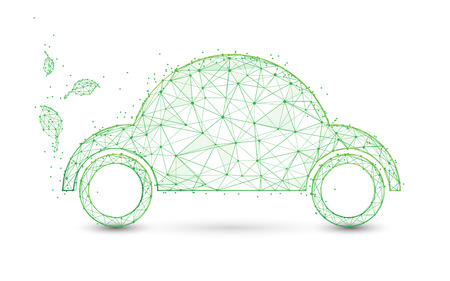 Eco friendly car and leaves form lines and triangles, point connecting network background. Ecology concept