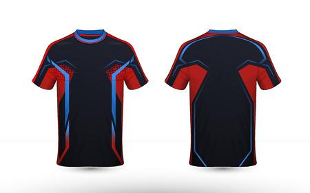 Zwart, oranje en blauw lay-out e-sport t-shirt ontwerpsjabloon