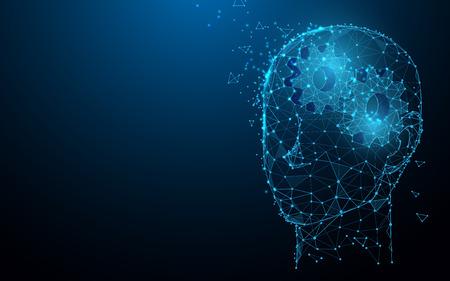 Menschlicher Kopf mit Zahnrädern aus Linien, Dreiecken und Partikeldesign. Illustrationsvektor