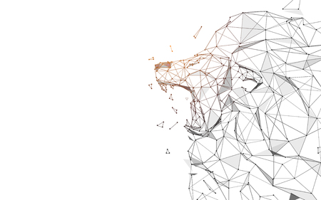 Lion Roaring from lines, triangles and particle style design. Illustration vector Vector Illustration