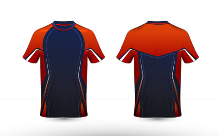 Orange, blue and white layout e-sport t-shirt design template