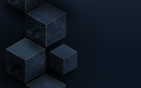 3D dark blue cubes and Marble texture. Abstract  luxury background