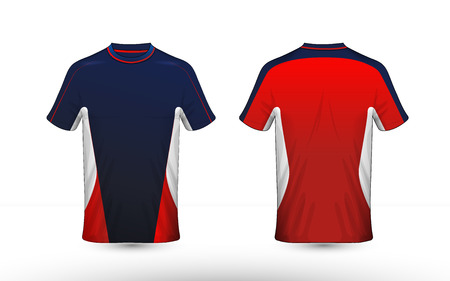 Blue, red and white layout e-sport t-shirt design template Stock Illustratie