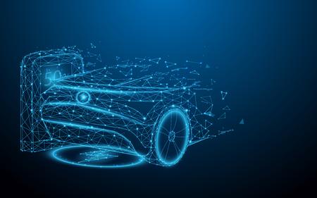 Elektrische auto bij laadstation van lijnen, driehoeken en deeltjesstijlontwerp. Illustratie vector Vector Illustratie