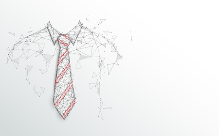 Happy Fathers Day. Necktie and white shirt on white background. Abstract lines, triangles and particle style design. Illustration vector