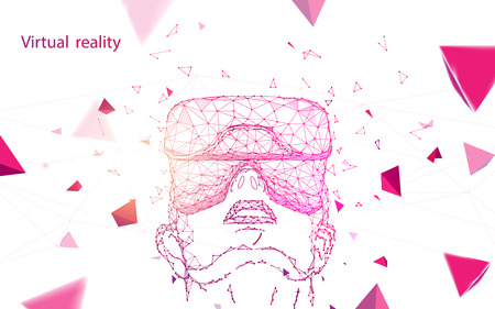 Man wearing virtual reality goggles. Abstract lines, triangles and particle style design. Illustration vector