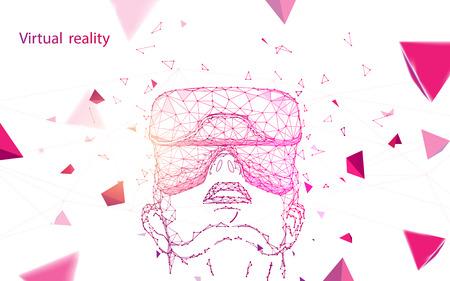 Mann mit Virtual-Reality-Brille. Abstrakte Linien, Dreiecke und Partikeldesign. Illustrationsvektor Vektorgrafik