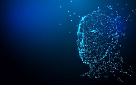 Peau polygonale de tête d'homme 3d réaliste. Lignes abstraites, triangles et conception de style de particules. Vecteur d'illustration