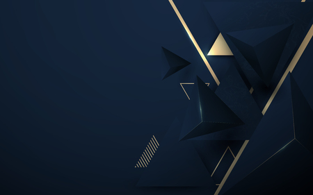Abstract 3D polygonal pattern luxury dark blue with gold background Illustration