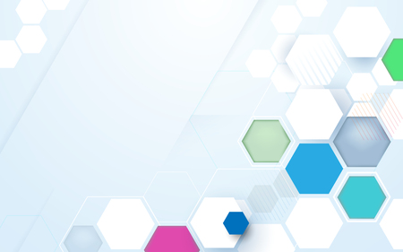 Abstract color hexagons hi-tech technology futuristic background Illustration