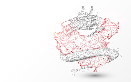 China map with chinese dragon from lines, triangles and particle style design. Illustration vector