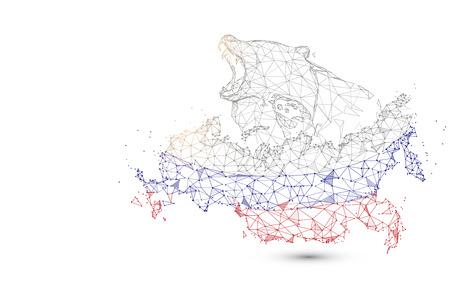 Mapa de Rusia con oso de líneas, triángulos y diseño de estilo de partículas. Vector de ilustración