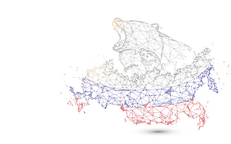 Russia map with bear from lines, triangles and particle style design. Illustration vector 向量圖像