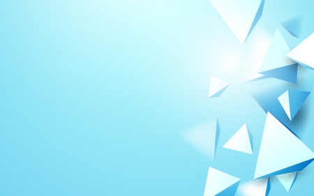 Abstract blue 3d triangles background. Illustration vector