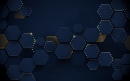 Abstract luxury dark blue and gold hexagons background. Illustration vector