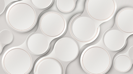 Abstract white 3d circles pattern minimalist background. Vector illustration