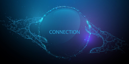 Hands touching global connection concept. Futuristic technology. Lines, triangles and particle style design. Illustration vector Illustration