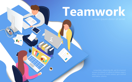 Office workers at work place. Teamwork concept. Flat isometric vector illustration