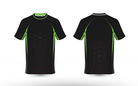 Black and green layout e-sport t-shirt design template Illustration