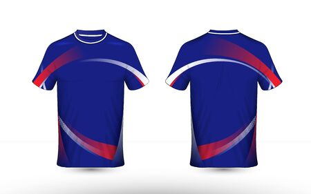Blue, red and white layout e-sport t-shirt design template Illustration