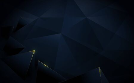 Abstract polygonal pattern luxury dark blue and gold background. Illustration vector Illustration